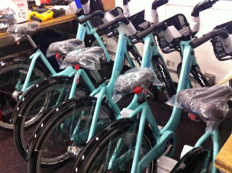 A first peek of the bikes. Photo courtesy Bay Area Bike Share.