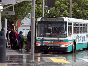 An AC Transit bus at the Transbay terminal in San Francisco (Deb Svoboda/KQED)