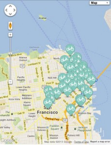 Click to see locations of the bike kiosks in San Francisco. Courtesy of Google.