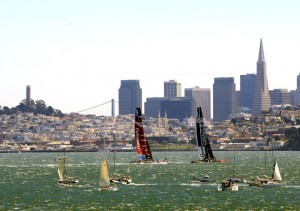 Race 16 was delayed 30 minutes because of light winds. (Jamie Squire/Getty Images)