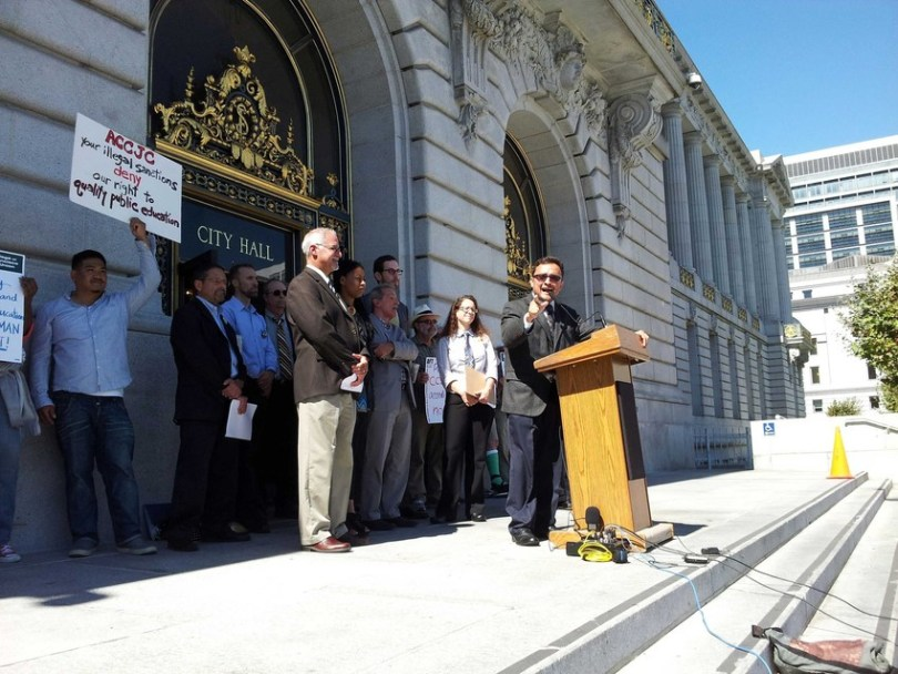 State and local teachers' unions said today they will file a lawsuit against the accrediting commission. (Alex Emslie/KQED)