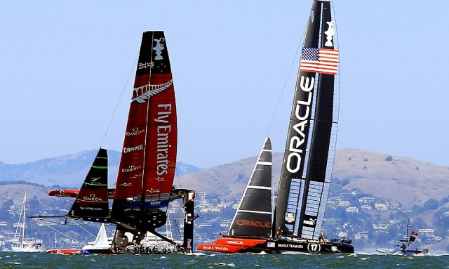 Emirates Team New Zealand's 72-foot catamaran heels over during Race 8 of America's Cup finals. (Jamie Squire/Getty Images)