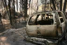 Berkeley's Tuolumne Family Camp was destroyed in the Rim Fire. (Grace Rubinstein/KQED)
