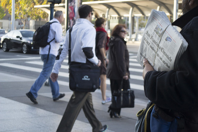 Commuters and the BART strike, the headline of the day. (Sara Bloomberg/KQED)