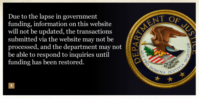The home page of the U.S. Justice Department, one of hundreds of federal agencies affected by the shutdown.