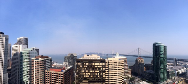 Heavy smoke as seen Friday afternoon in San Francisco. The source of the plume is a wind-driven wildfire in Solano County (David He via Berkeleyside).