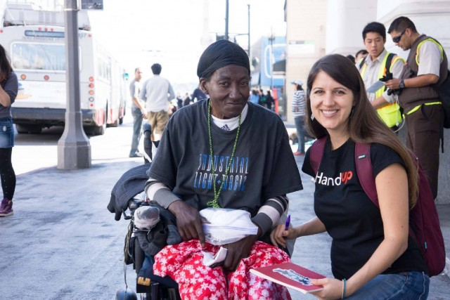 Rose Broome, founder of HandUp, and Georgia Rose, a HandUp client. (Courtesy Jackson Solway)