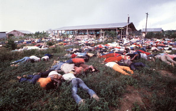 The scene at Jonestown after the Rev. Jim Jones led and forced followers into what he called 'revolutionary suicide.' More than 900 people died, including more than 300 children. (Tim Chapman/Getty Images)