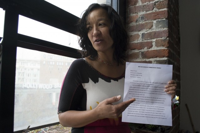 1049 Market St. tenant Melissa Bracero says she would probably have to leave the city if she's evicted. (Sara Bloomberg/KQED).