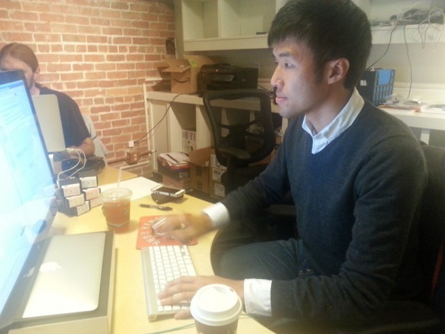 Ning Liang created HealthSherpa.com with two buddies out of his SoMa office in San Francisco. The site uses Affordable Care Act information to get users health care price quotes from local insurance companies quickly. (Aarti Shahani / KQED)