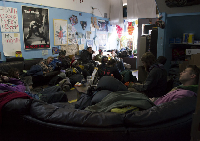 A crowd of young people at the Homeless Youth Alliance earlier this week. The drop-in homeless services center will have to close its doors on Christmas Day to prepare to move everything into storage. The building owner plans to use the Haight Street space for a restaurant and housing. (Sara Bloomberg / KQED)