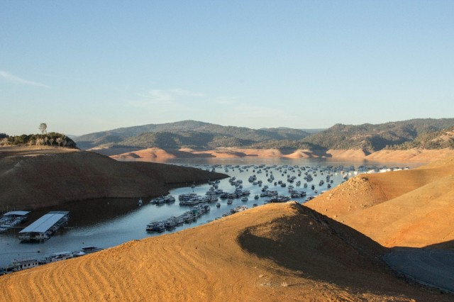 Lake Oroville, largest reservoir in the State Water Project, is at just 39 percent of capacity. (Dan Brekke/KQED News)