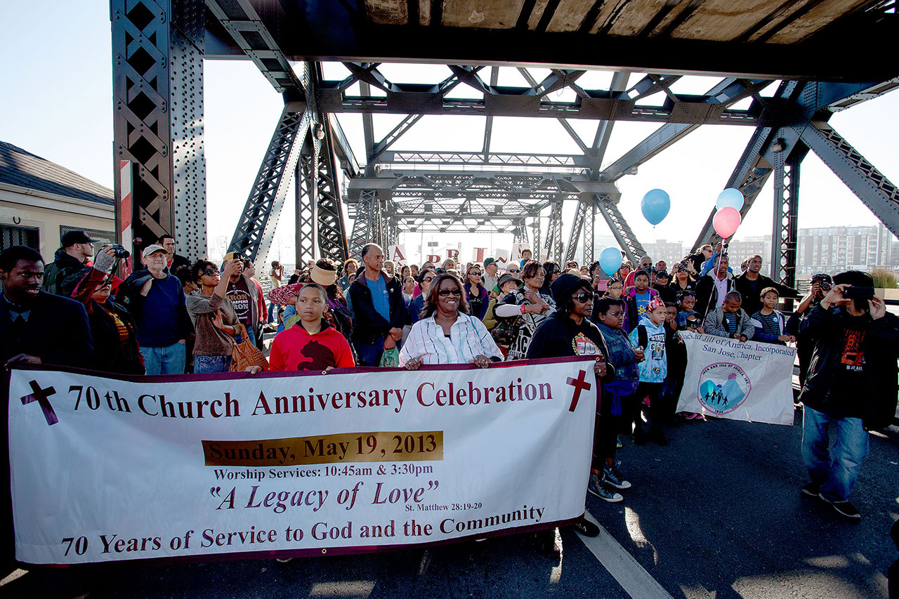 The march paused at Lefty O'Doul Bridge, where civil rights and religious leaders gave brief speeches.