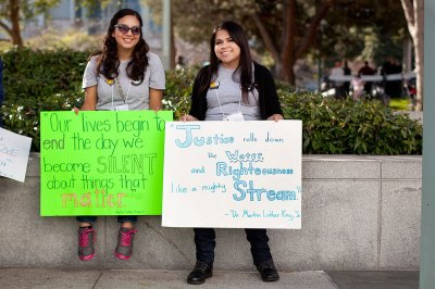 AmeriCorps members Ann Fernandez, from San Diego, and Natalie Gonzalez at MLK Day event at Yerba Buena Gardens