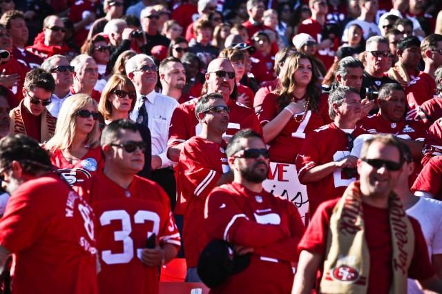 San Francisco 49ers fans celebrate at Candlestick Park during the regular season. (Deborah Svoboda/KQED)