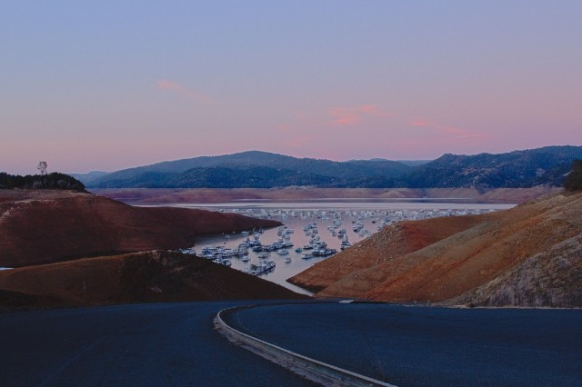 Lake Oroville, the largest reservoir in the State Water Project, is pictured on Jan. 18, 2014, the day it hit its lowest point during the current drought. (Dan Brekke/KQED)