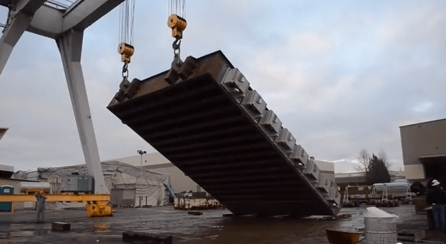 A 'bulkhead gate assembly' for the new Folsom Dam auxiliary spillway under construction in Vancouver, Wash. (U.S. Army Corps of Engineers)