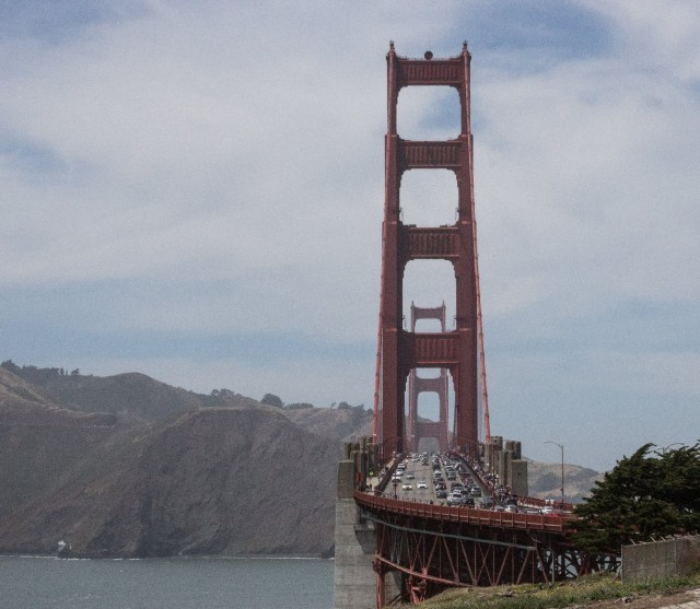 The Golden Gate Bridge from Battery Godfrey in San Francisco's Presidio. (Dan Brekke/KQED)