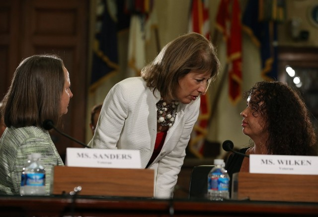 Rep. Jackie Speier (D-CA) spoke with military sexual assault survivors  during a House Veteran Affairs Subcomittee on Capitol Hill. (Mark Wilson/Getty Images)