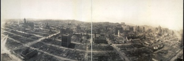Bird's-eye view of ruins from captive airship 600-feet above Folsom, between 5th and 6th Streets (Library of Congress).