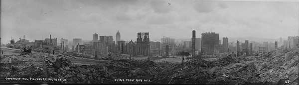 The view from Nob Hill, April 18, 1906 (Library of Congress).
