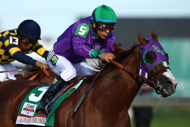 California Chrome, winner of the Kentucky Derby on May 3, was flown to Maryland for Saturday's Preakness. (Andy Lyons/Getty Images)