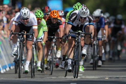 Mark Cavendish, left, edges ahead of John Degenkolb, right, at finish of the first stage of the Tour of California in Sacramento on Sunday. (Ezra Shaw/Getty Images)