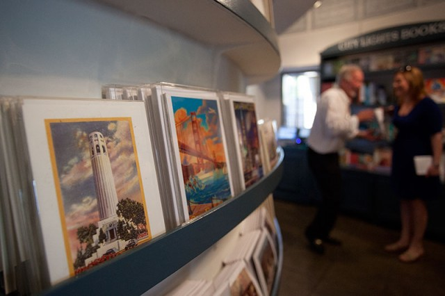 Postcards are on display in Coit Tower's new gift shop (Mark Andrew Boyer / KQED)