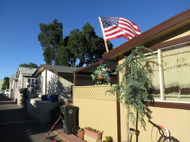 The Buena Vista Mobile Home Park in Palo Alto, whose owners want to sell to developers of luxury housing. (Francesca Segre/KQED)