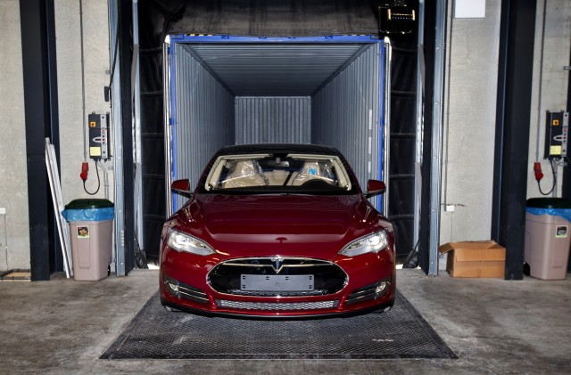 A Tesla car being assembled at the new Tesla Motors car factory in Tilburg, the Netherlands. (Guus Schoonewille/AFP/Getty Images)