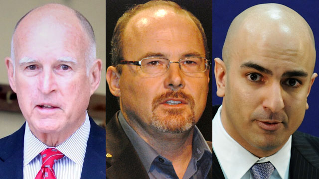 Gov. Jerry Brown, left, and Republican gubernatorial candidates Assemblyman Tim Donnelly, center, and Neel Kashkari. (Jeremy Raff/KQED, Erin Tyler/Flickr and Jonathan Ernst/Getty Images)