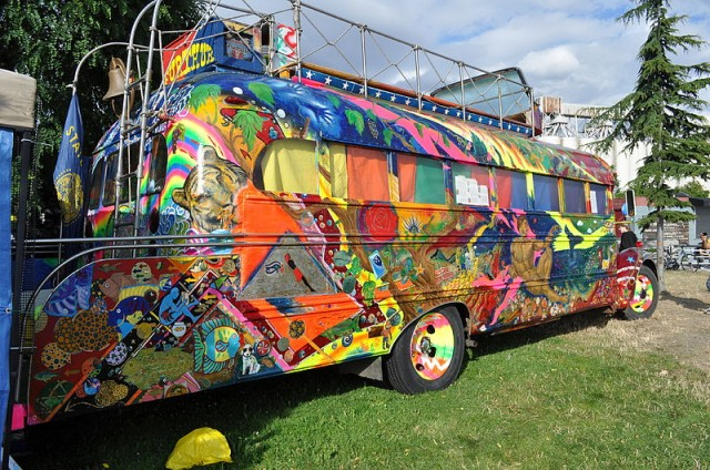 Ken Kesey's replica of the bus he used to tour across the United States in the mid-1960s. (Joe Mabel/Wikimedia Commons)