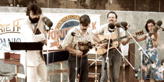 Garrison Keillor and the Powdermilk Biscuit Band perform at an outdoor show in Saint Paul, MN, circa 1977. (Courtesy of PHC)
