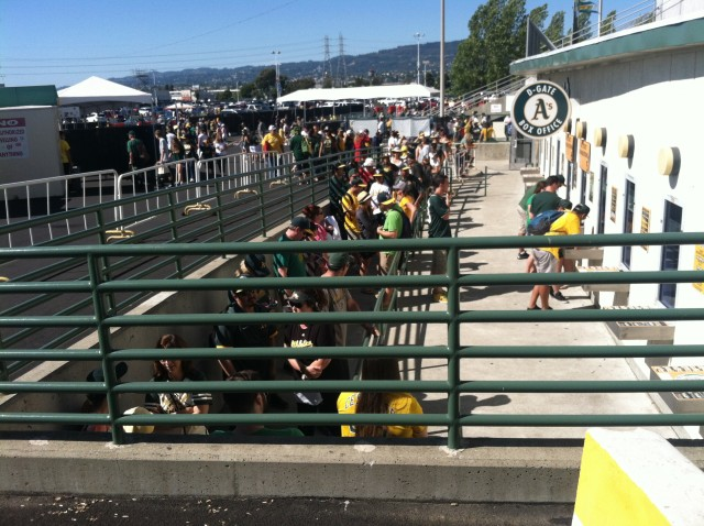 Fans stand in line to buy A's tickets at the Oakland Coliseum. (Nina Thorsen/KQED)