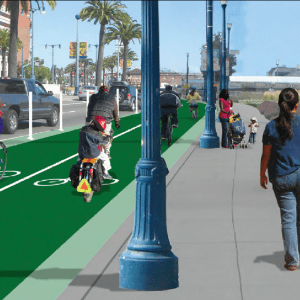 The San Francisco Bicycle Coalition's rendering of a protected bikeway along the Embarcadero.