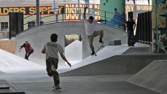 Skateboarders from all over the Bay Area came to test out the brand new skate park in San Francisco. But their presence there at all hours of the day and night is upsetting some neighbors. (Alexandra Garretón/KQED)
