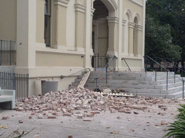 Quake damage to Historic Courthouse, Napa County Superior Court. (Craig Miller/KQED)