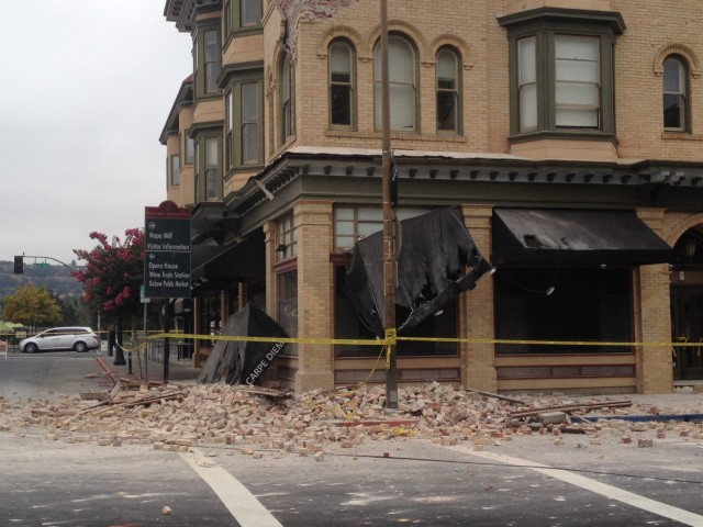 Damage in the Napa historic district. (Craig Miller/KQED)