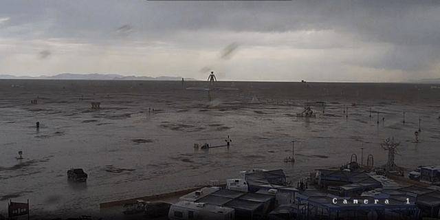 A Monday image from Burning Man webcam showing inundated playa at Black Rock City.