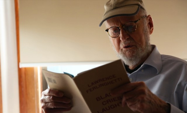 Beat poet and painter Lawrence Ferlinghetti will turn 96 in March. (Adam Grossberg/KQED)