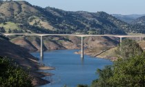 The Highway 49 bridge over shrinking New Melones Lake. April 2015.