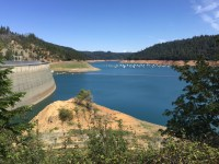 New Bullard's Bar Dam impounds the North Fork of the Yuba River in the northern Sierra Nevada. The reservoir is California's 12th largest. May 2015.