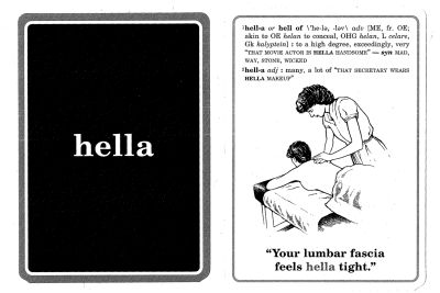 A slang flash card explains the use of the word.