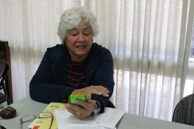 Barbara Britschgi, 80, prepares for a senior affairs commission meeting in Redwood City, her lifelong hometown. She says skyrocketing rents and housing prices are diminishing Redwood City's diversity, as well as resident's quality of life.