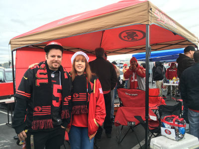Tim Chandler and his mother Jackie Petrucci tailgate at Levi's Stadium. They will both go to the Super Bowl and say they have no worries about security.