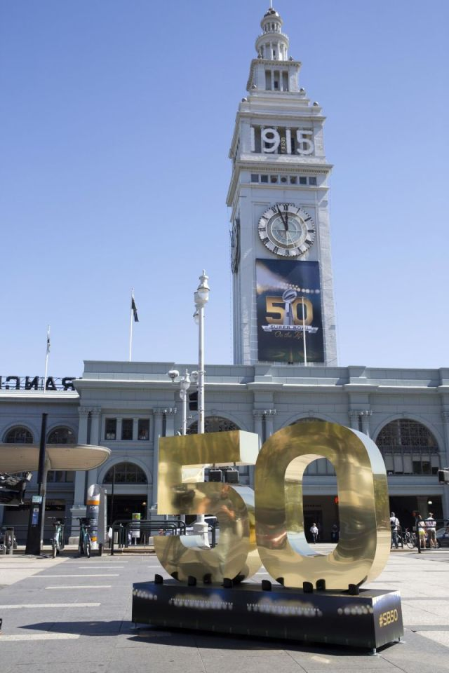 The Embarcadero around the Ferry Building is transforming into Super Bowl City.