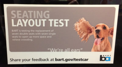 BART's inviting feedback on experimental car layout.
