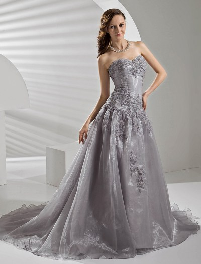 Court Train Silver Organza Wedding Dress with A-line ...
