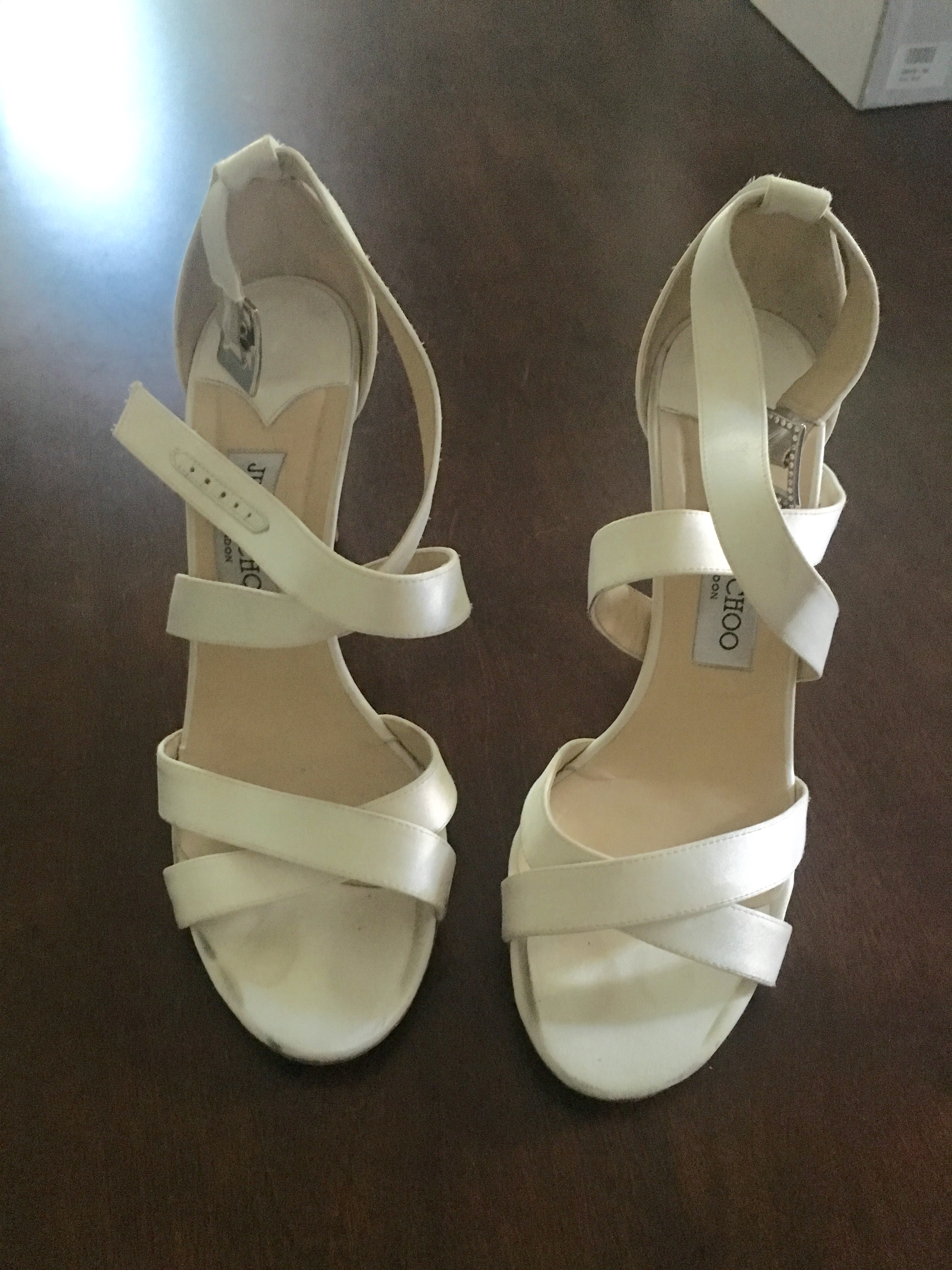 jimmy choo ivory satin wedding shoes jimmy choo wedding shoes These are absolutely beautiful shoes that have been sold out on Jimmy Choo for awhile I wore them once on my wedding day this past June