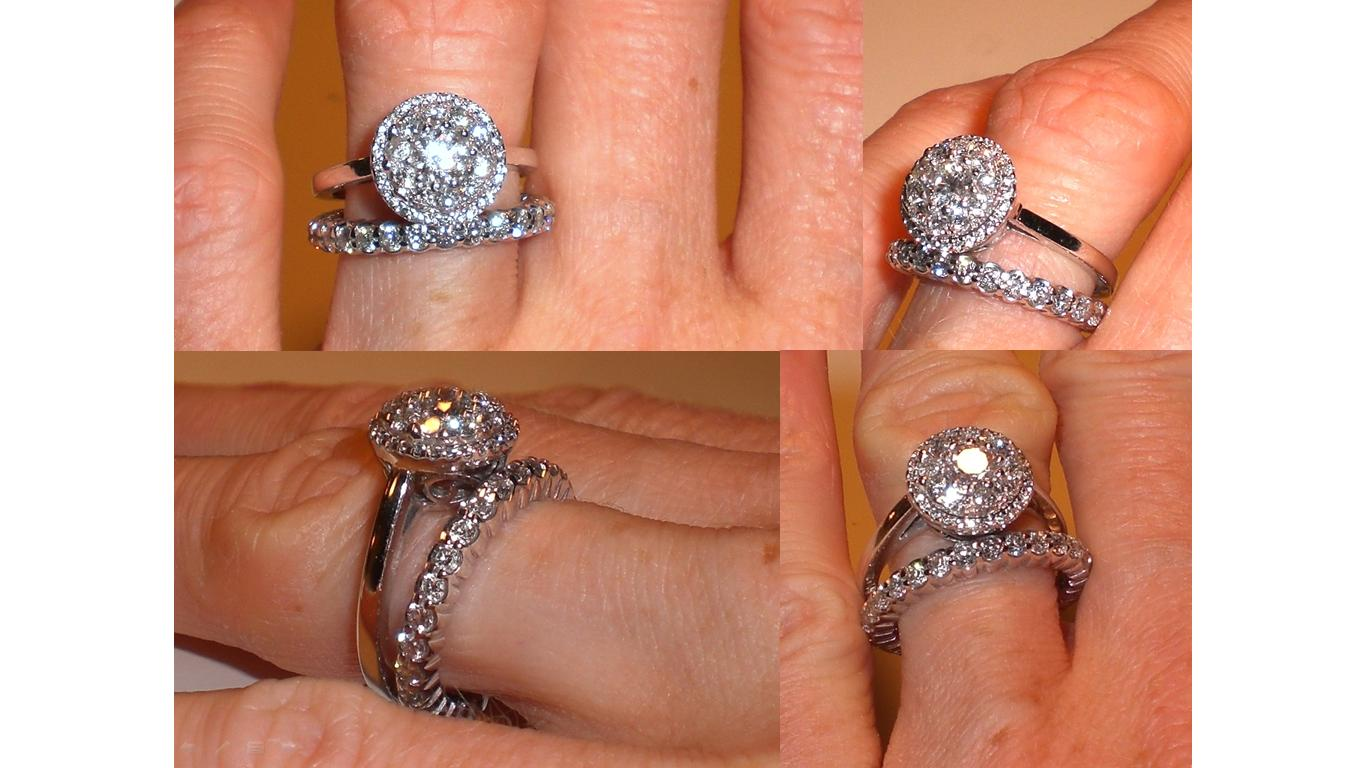 show me your diamond wedding band that is larger than engagement band wedding ring band 1